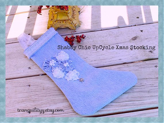denim  Shabby Chic Style Up Cycle denim Stocking by tranquilityy