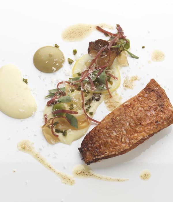 Daniel Clifford's red mullet recipe stuffs the fish with Spanish ham and the coastal herb sea purslane, binding the fish with meat glue.