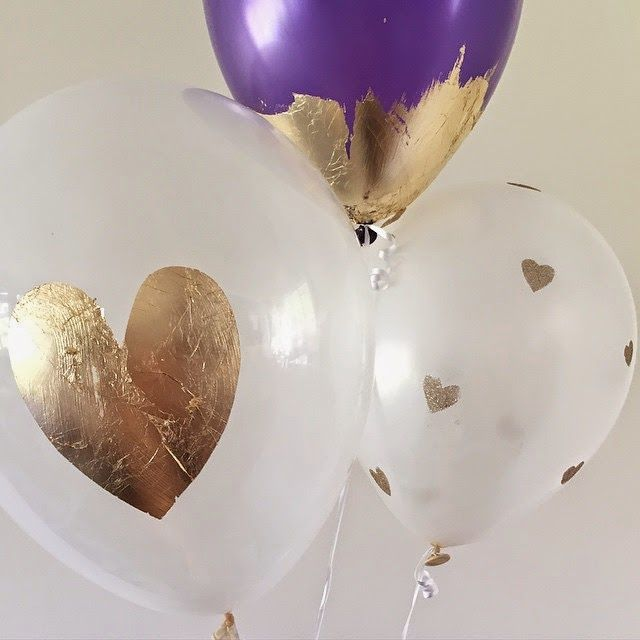 Crafting: stencilled gold leaf and glitter balloons