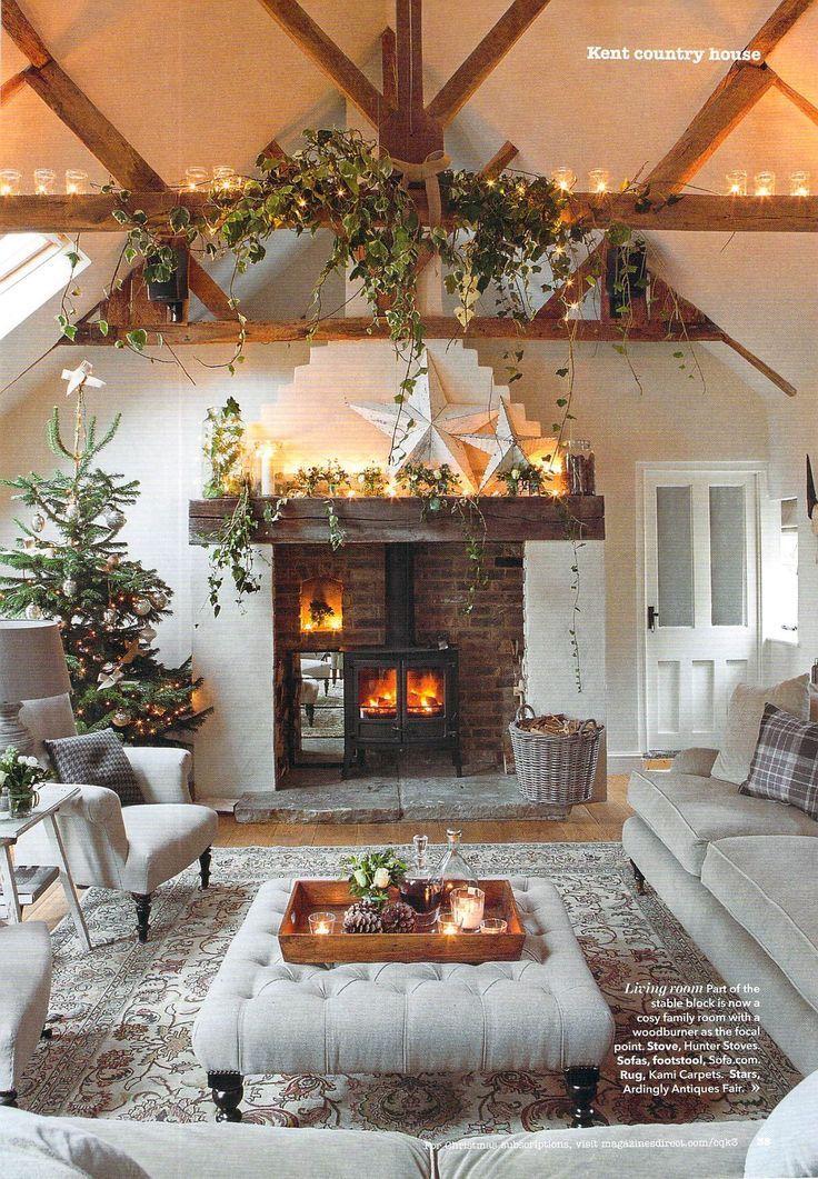 35 beautiful xmas fireplace decor ideas Pinterest Xmas, Holy - christmas fireplace decor