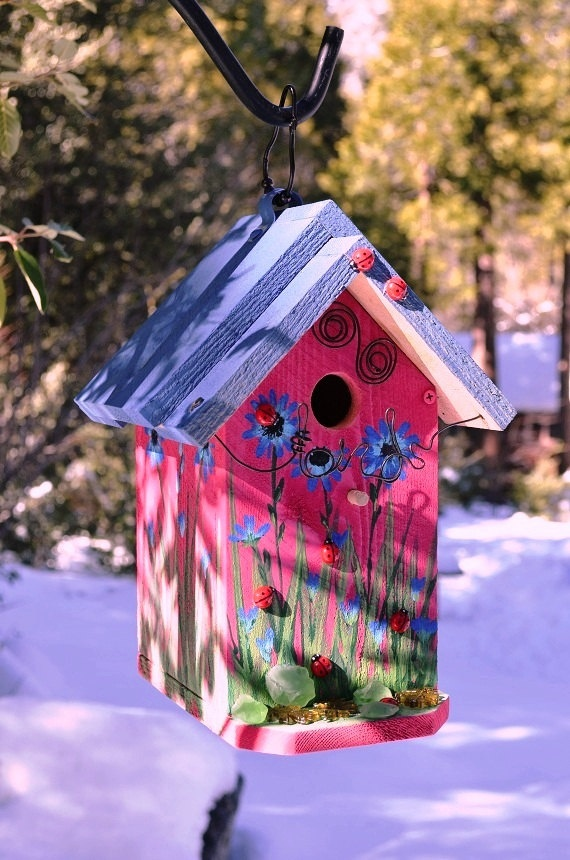 Painted Flower Bird House Designs on flower painted tables, flower clock, flower painted fence, flower painted flower pot, flower painted chair, flower design bird house,