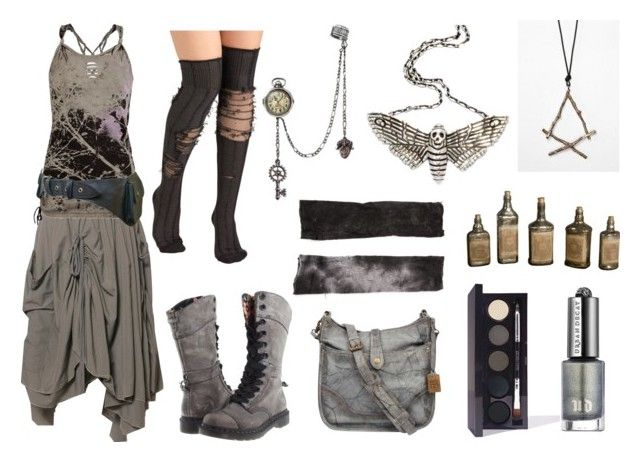 """""""At the End of all Things"""" by maggiehemlock ❤ liked on Polyvore featuring Dr. Martens, ANM, Frye, Tissu Tiré, The Wildness Jewellery, Laura Mercier, Urban Decay and Uttermost"""