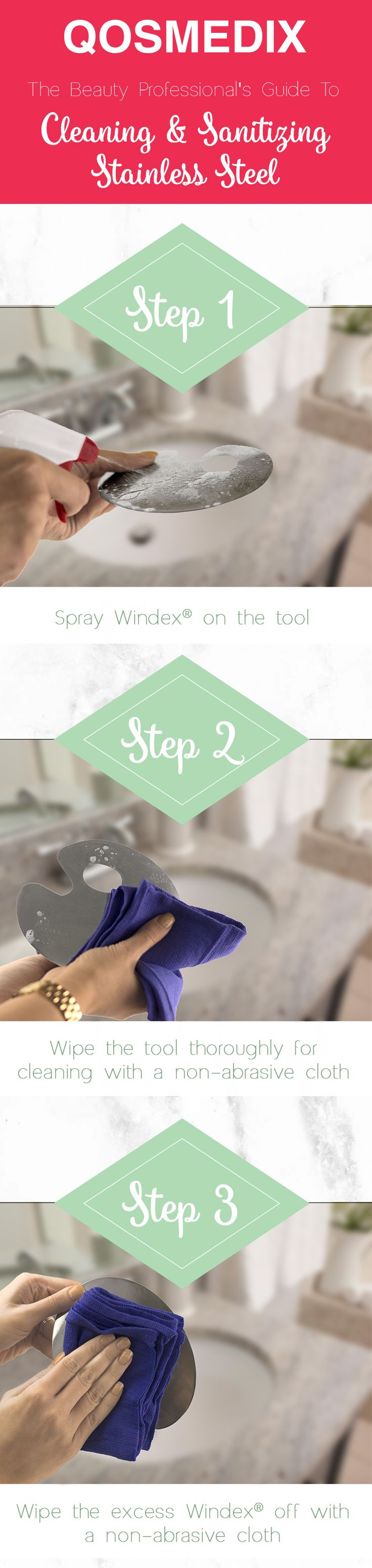 How to Clean Stainless Steel (Windex Method) - Remember  always clean  before you sanitize! Follow these easy steps for a sparkling work station.  #
