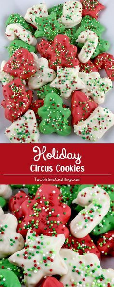 Holiday Circus Cookies - Homemade Circus Animal Cookies but in Holiday shapes and colors. Easy to make and delicious. Your family will love them! These Red, White and Green Christmas Treats will definitely stand out at a Holiday Party or Christmas Cookie Exchange. Pin this yummy Christmas Dessert for later and follow us for more fun Christmas Food Ideas.