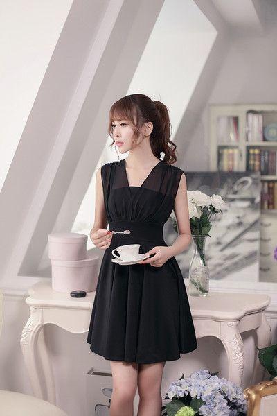 Japanese Fashion - V -neck chiffon  sleeveless A word dress - AddOneClothing - 2