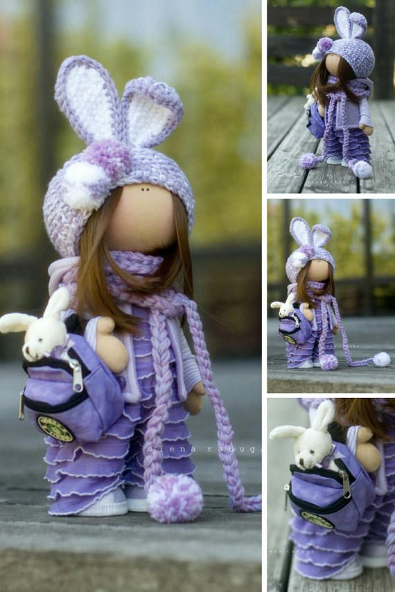 Bunny Doll Fabric Doll Handmade Doll Textile Doll Cloth Doll Muñecas Tilda Doll Rag Doll Purple Doll Soft Doll Baby Doll Poupée by Alena __________________________________________________________________________________________   This is handmade soft doll created by Master Alena R (Moscow, Russia). All dolls stated on the photo are mady by artist Alena. You can find them in our shop searching by artist name. Here are all dolls of artist Alena: https://www.etsy.com/shop/An...