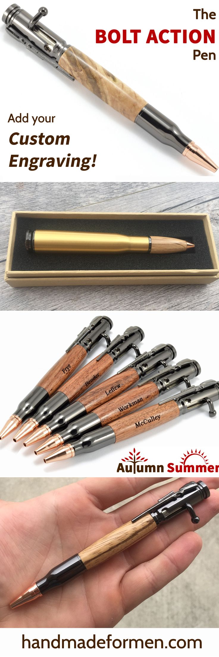 Great Gun Gifts for Him! The Gun Lover is sure to love these bolt action pens! Custom engraved pens! www.handmadeformen.com