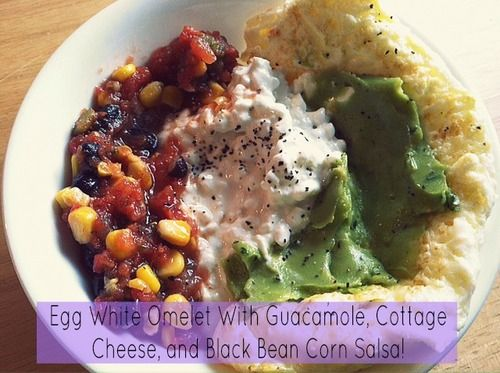 White Omelet With Guacamole, Cottage Cheese, and Black Bean Corn Salsa ...