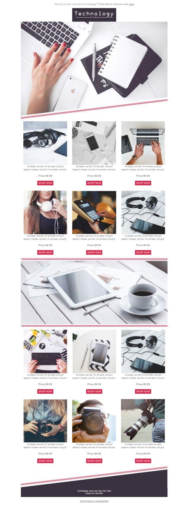 ¿Tienes una tienda de venta minorista especializada en tecnología? Pues has caído en el mejor sitio, porque aquí encontrarás diseños para tus plantillas newsletter.