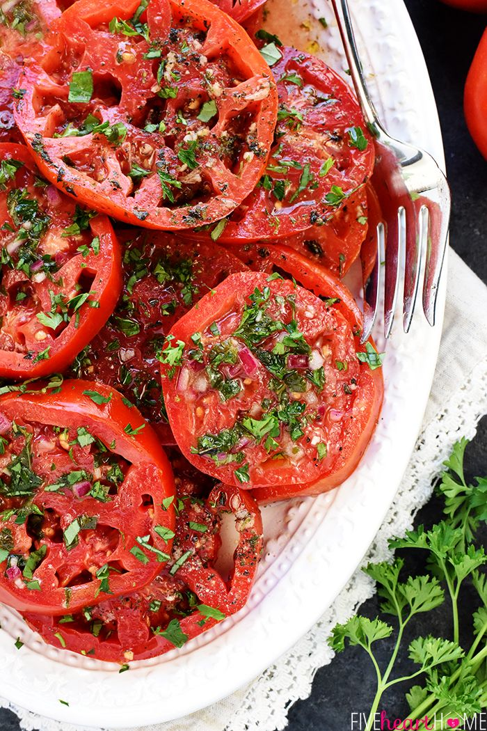 Marinated Tomatoes ~ ripe, juicy tomatoes soak up olive oil, red wine vinegar, onion, garlic, & fresh herbs  | FiveHeartHome.com