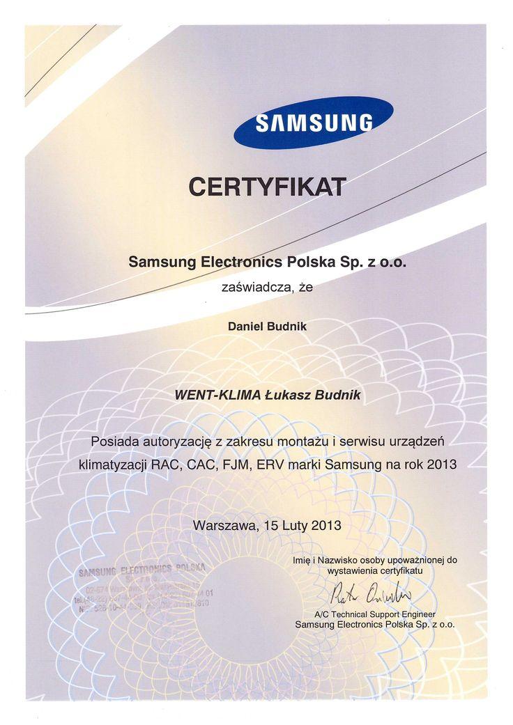 Certyfikat ze szkolenia, klimatyzacja firmy Samsung