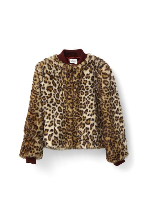 Ganni New Arrivals   Ferris Faux Fur Bomber, Leopard