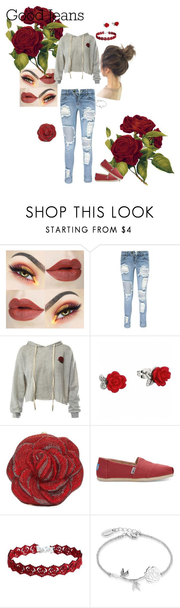 """""""distressing rose"""" by yunablain ❤ liked on Polyvore featuring Boohoo, Sans Souci, Judith Leiber, TOMS, Disney and distresseddenim"""