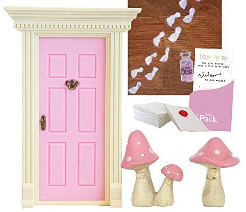 'lil Fairy Door Light Pink Magical Starter Pack - Includes Fairy Door, Sparkly Fairy Dust, Notes