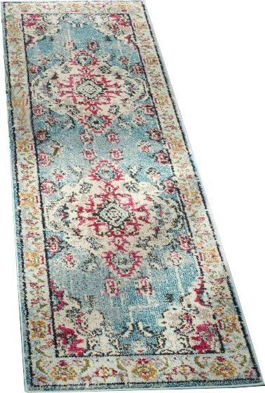 Set a bohemian foundation for your eclectic ensemble with this charismatic ornate area rug. Power loomed in Turkey from stain-and-fade-resistant polypropylene, this free-spirited design showcases a Persian-inspired medallion motif in vibrant hues of fuchsia, ivory, and turquoise. Roll this rug out in the center of the room to define the space, then set a velvet camelback sofa and a leopard-print wingback chair around an ornately carved mahogany coffee table. Take your design cues from the…