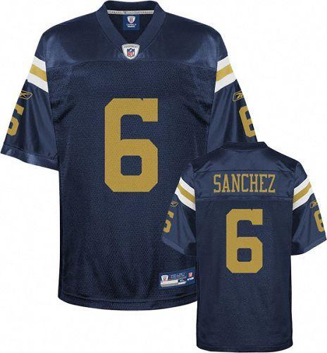 Reebok New York Jets Mark Sanchez 6 Blue Authentic Jerseys Sale