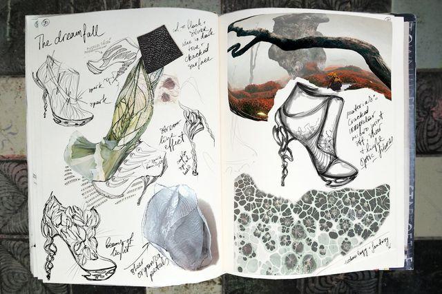 Fashion Sketchbook with shoe sketches - organic meets futuristic; footwear design & development