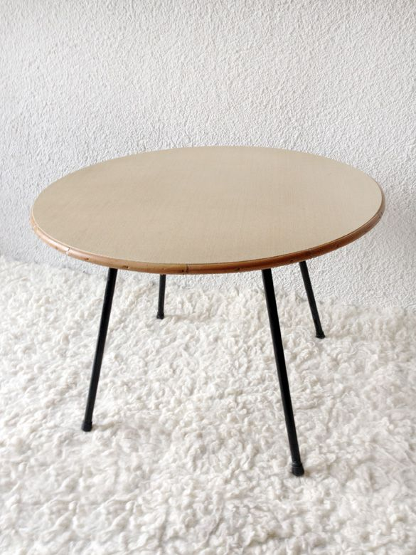 coffee table with stell structure (France'60) www.vadevintage.com