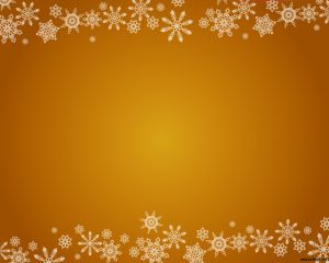 Snowflakes PowerPoint design with an orange styled background and light white snowflakes brushes at top and bottom of the slide