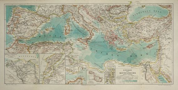 1897 Antique map of THE MEDITERRANEAN SEA. by TheOldPrintsCabinet