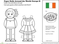 Irish Paper Doll Worksheet
