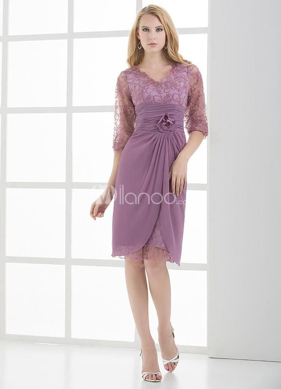 Elegant Lilac Chiffon Lace V-neck Mother of The Bride Dress. See More Mother of the Bride Dresses at http://www.ourgreatshop.com/Mother-of-the-Bride-Dresses-C928.aspx