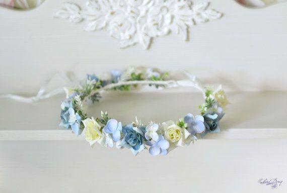 Wedding flower crown Blue White floral hair wreath Boho roses hydrangea crown Rustic bridal floral halo