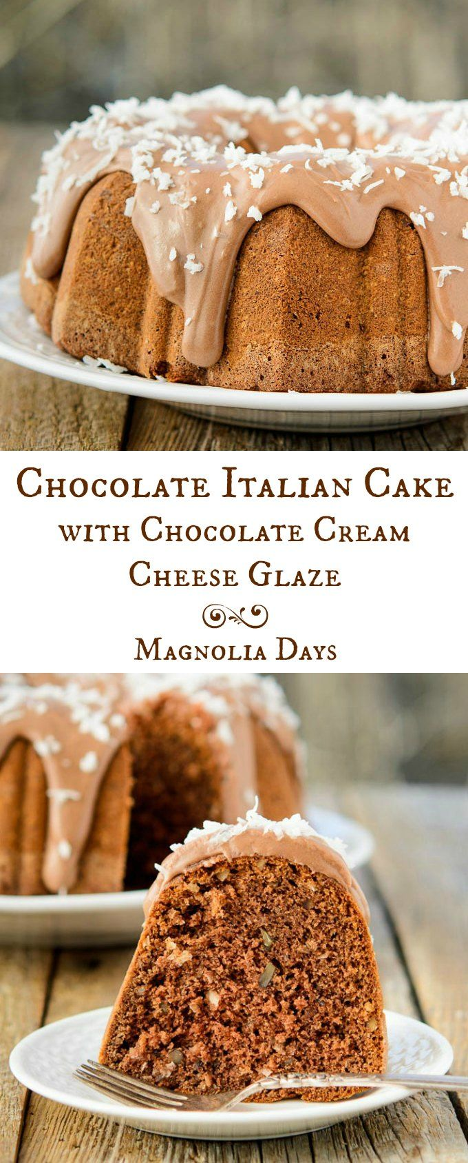Chocolate Italian Cake with Chocolate Cream Cheese Glaze is German Chocolate Cake meets Italian Cream Cake in a most delicious way. And it's a bundt too!