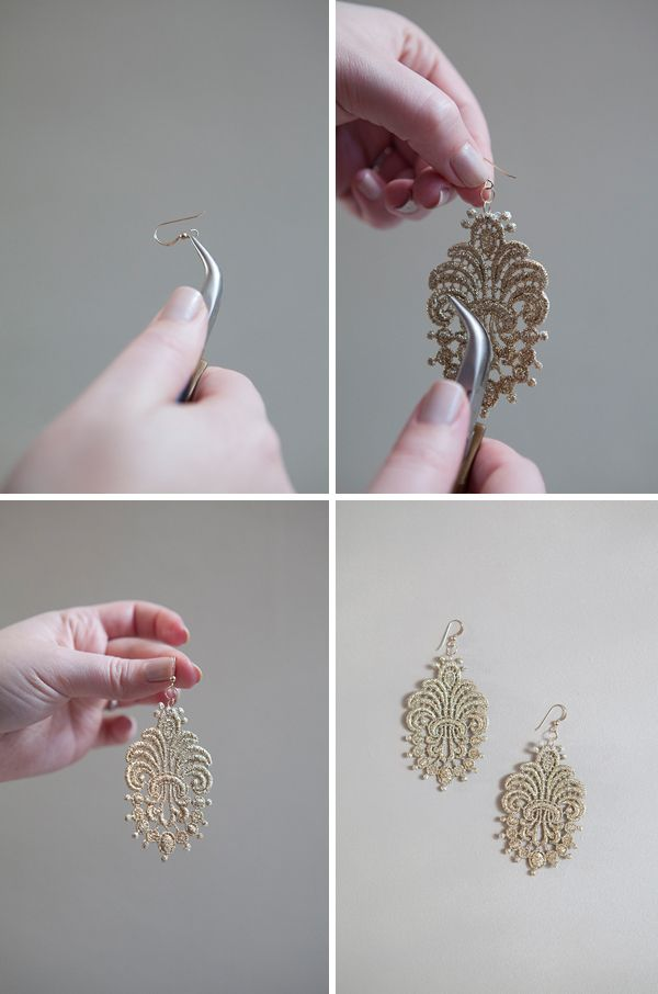DIY stiffened lace applique earrings - Wouldn't just have to be lace - could be any fabric thing - hmmm