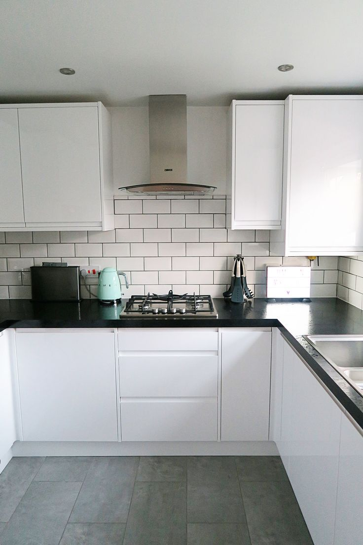 Our new kitchen which we designed with Wickes. I love the white gloss, mint SMEG accessories and subway tiles.