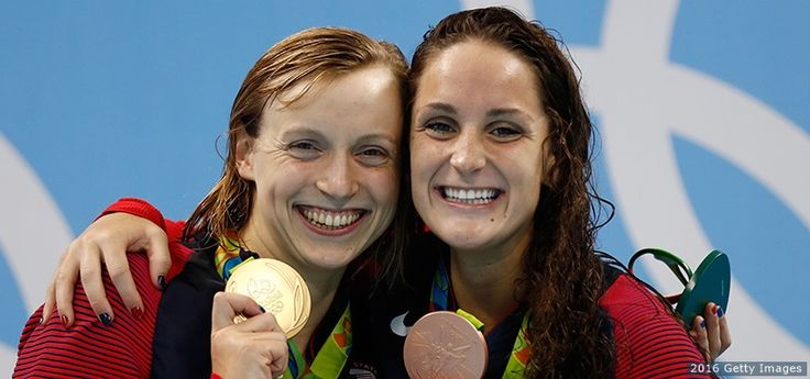 Gold medalist Katie Ledecky and bronze medalist Leah Smith pose on the podium at the medal ceremony for the women's 400-meter freestyle at the Rio 2016 Olympic Games at the Olympic Aquatics Stadium on Aug. 7, 2016 in Rio de Janeiro.