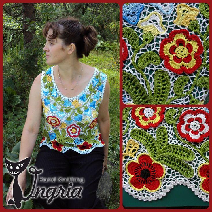 Топ Цветочная полянка, вязание, ирландское кружево, irish crochet, автор Ингрия (Ingria).