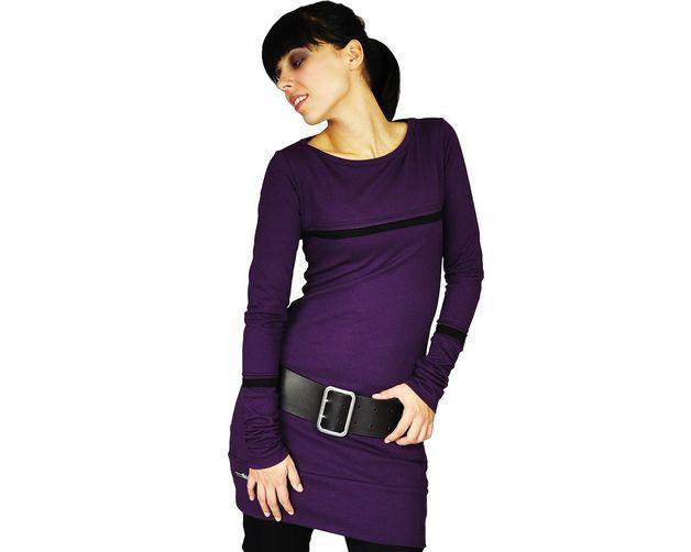 Stretchkleider - enges Bleistiftkleid pflaume+schwarz - ein Designerstück von annafriday bei DaWanda