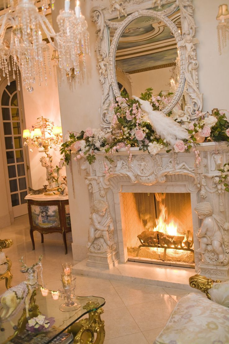 SIMPLY BEAUTIFUL fireplace mantle with angels/cherubs!! -~ Click thru to see some GORGEOUS shabby chic cottage decorating photos!!
