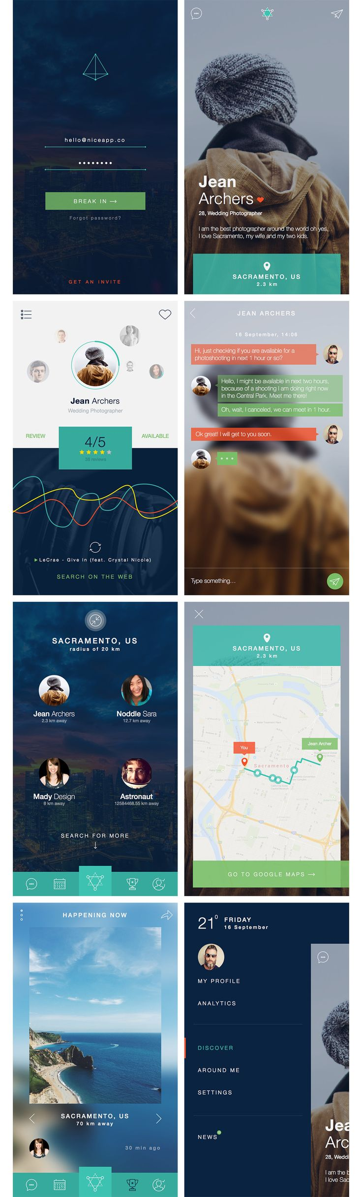 Free App UI Kit – 8 screens for Photoshop and Sketch