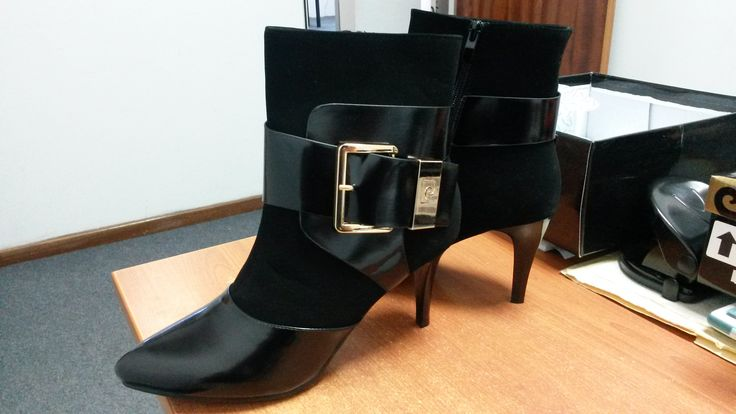 Black Ankle Heeled Boot with Ankle Buckle by Pierre Cardin