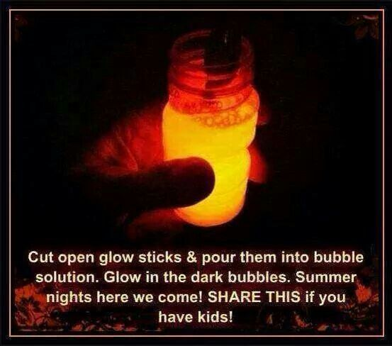 Doing this with the kids for sure POUR GLOWSTICKS INTO BUBBLE SOLUTION .. GLOW IN THE DARK BUBBLES