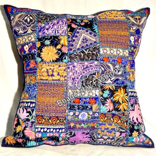 """24"""" Ethnic Embroidery Antic Patchwork Indian Pillow Case Vintage Throw Decor Art"""
