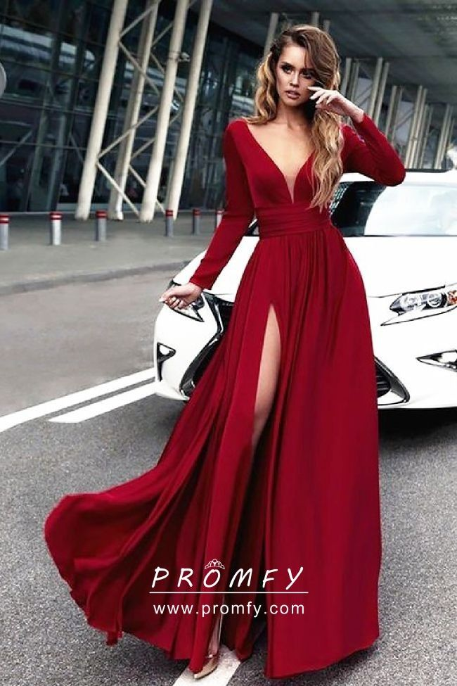 8f2984b209 Elegant   sexy crimson red satin chiffon long sleeve A-line long prom dress  with curved plunging V neckline and high slit.