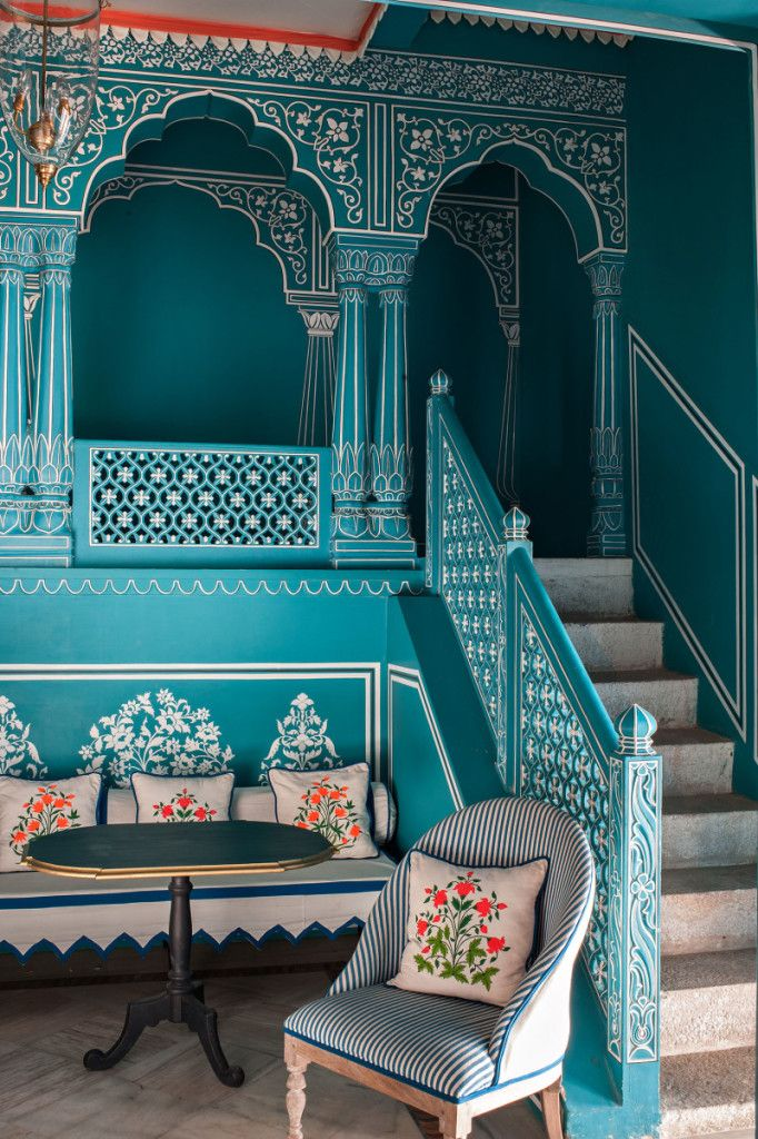 Located within the Narain Niwas Palace Hotel in Jaipur, India is what might be the most visually delightful restaurant and bar in the world. Bar Palladio, designed by Dutch designer and Tocca founder Marie-Anne Oudejansis, is a treat for the senses with it's electric blue walls, intricate wooden