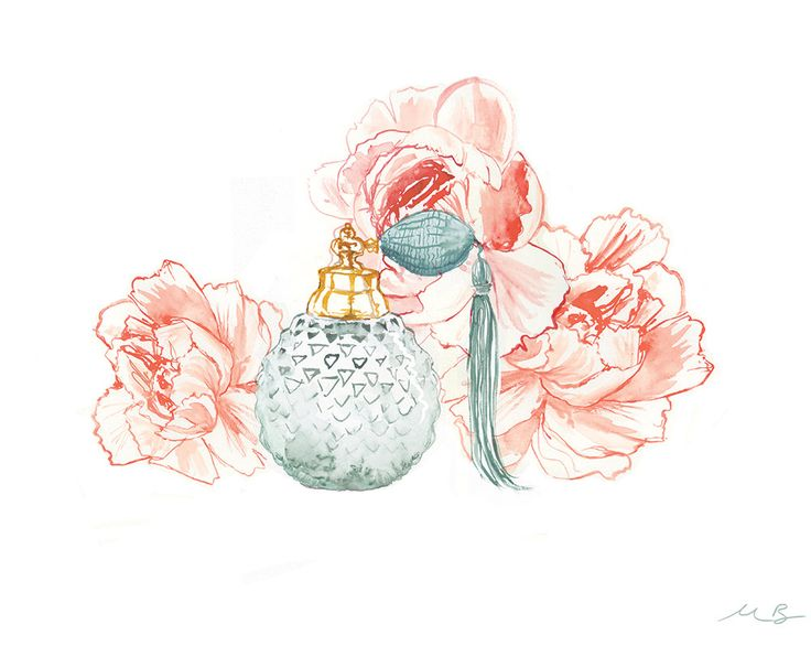 Perfume And Water Tattoo: Peonies And Perfume, Watercolour Painting, A3 Giclée Print
