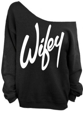 "Gray ""Wifey"" Print Off The Shoulder Sweatshirt,  Sweater, gray wifey off shoulder sweater, Casual"