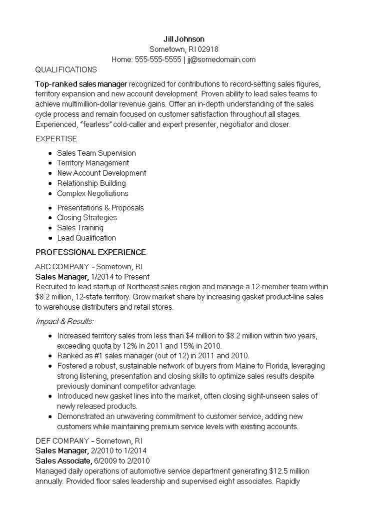 Inside Sales Manager Resume How to create an Inside