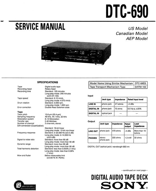 Sony DTC-690 DAT , Original Service Manual PDF format suitable for Windows XP, Vista, 7 DOWNLOAD