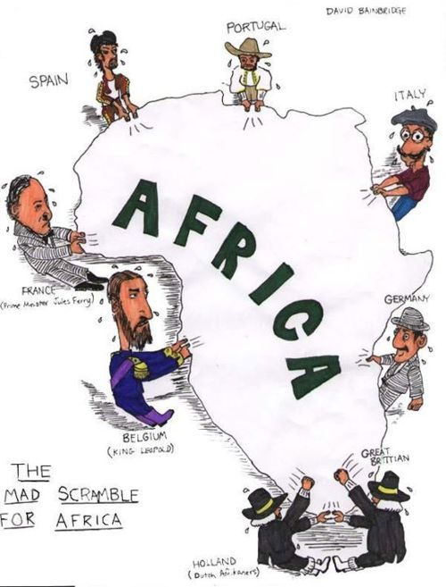 """The Mad Scramble for Africa"" I have used this cartoon in my world history classes for several years- I ask students to complete a political cartoon assessment in order to determine what the scramble for Africa entailed, and then discuss whether neo-colonization still exists today."