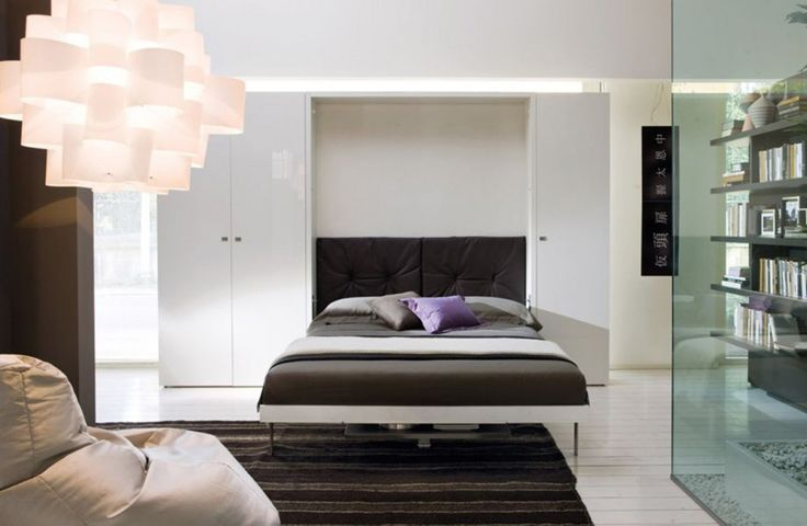 Bedroom. Furniture Bedroom. Awesome Contemporary Murphy Beds Design Ideas. Delightful Contemporary Murphy Beds With Wardrobe And Storage In White Feature Wooden Book Shelves And Murphy Bed With Dark Chocolate Upholstered Headboard Plus Drak Chocolate Matters Cover. Contemporary Murphy Beds. Awesome Contemporary Murphy Beds Design Ideas