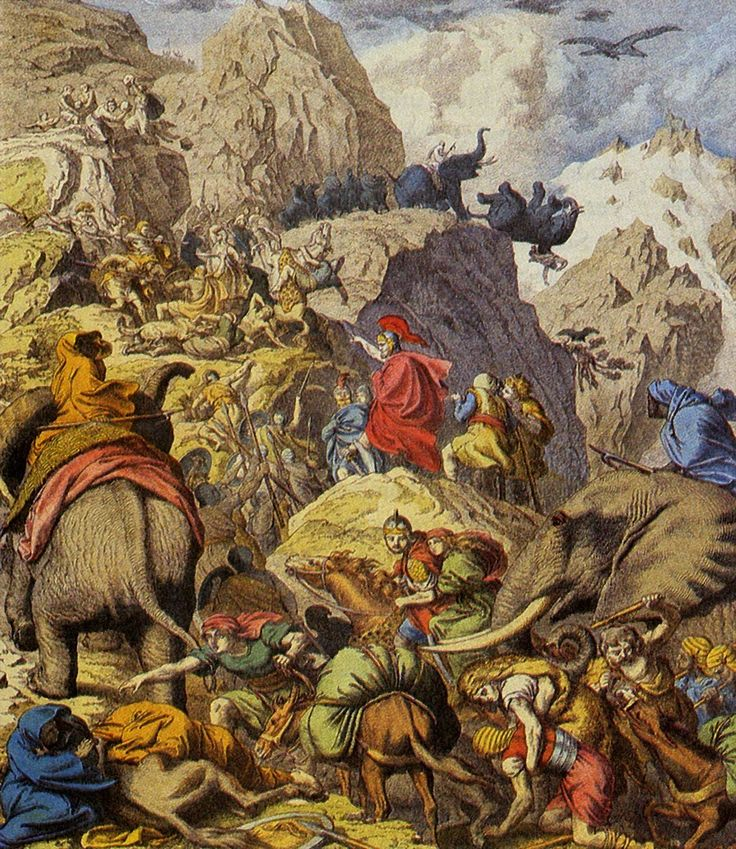 Depiction of Hannibal and his army crossing the Alps during the Second Punic War. The Punic Wars were a series of three wars fought between Rome and Carthage from 264 BC to 146 BC. At the time, they were probably the largest wars that had ever taken place.