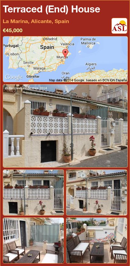 Terraced (End) House in La Marina, Alicante, Spain ►€45,000 #PropertyForSaleInSpain
