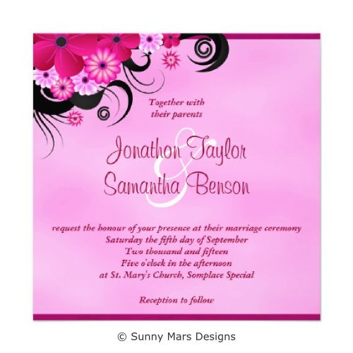 Fuchsia Floral Hibiscus Custom Wedding Invitations by sunnymars of SunnyMarsDesigns.  Formal, stylish, modern, trendy, chic customizable wedding invite that features a dark pink or purple fuchsia swirly tropical hibiscus floral decoration design. Click through for matching wedding stationery and related products.