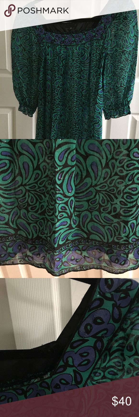 Silky Anna Sui Top Teal and blue Anna Sui Top. Semi sheer, though can be worn with no tank underneath. Has metallic bits throughout. Size M. Anna Sui Tops